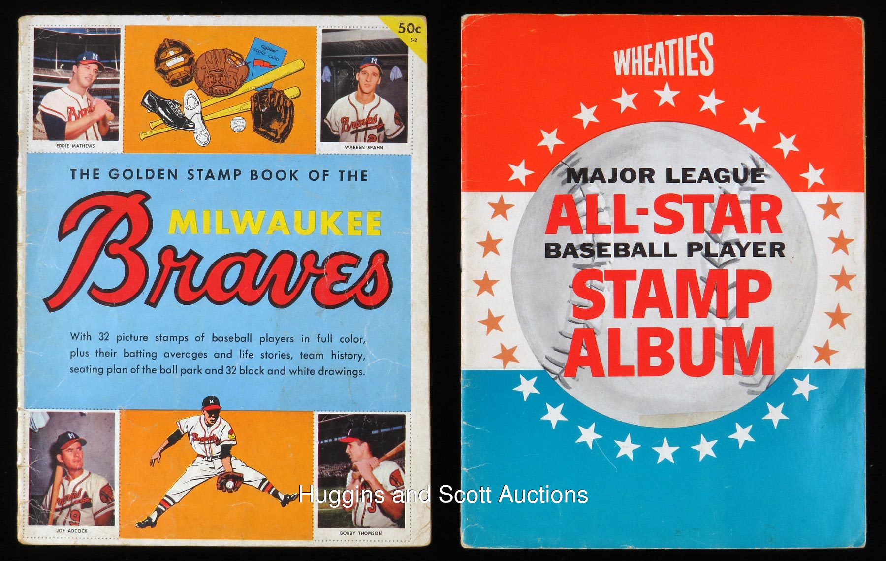 Completed Baseball Stamp Album Lot of (2) with 1955 Golden